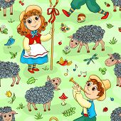picture of shepherdess  - Seamless pattern with shepherd - JPG