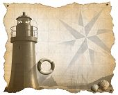 stock photo of sail ship  - Brown parchment with a lighthouse lifebuoy seashells compass rose and a sailing ship - JPG