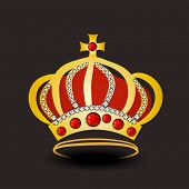 foto of pageant  - Golden stylish royal crown decorated with jewel on dark brown background - JPG
