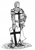 foto of crusader  - Black and white drawing of standing Crusader armed with sword helmet and shield - JPG