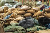pic of canteen  - Vintage Combat Helmet and Canteen military equipment of the infantry - JPG