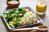 foto of quinoa  - Cooked white quinoa seeds with fried vegetables  - JPG
