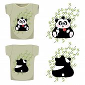 picture of panda bear  - bear Panda with candy on the leaves of the bamboo t - JPG