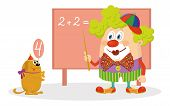 image of circus clown  - Cheerful kind circus clown in colorful clothes with trained dog solving arithmetic exercises on a blackboard - JPG
