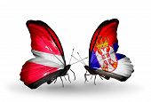 picture of serbia  - Two butterflies with flags on wings as symbol of relations Latvia and Serbia - JPG