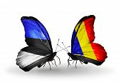 stock photo of chad  - Two butterflies with flags on wings as symbol of relations Estonia and Chad Romania - JPG