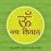 picture of om  - illustration of Stylish shiny text Om Namaha Shivaya for Happy Shivaratri in green background - JPG