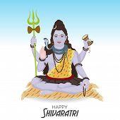 stock photo of shiva  - illustration of Lord shiva in blue background - JPG