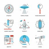 stock photo of line  - Thin line icons of startup key elements new brand development small business growth market research and company vision - JPG