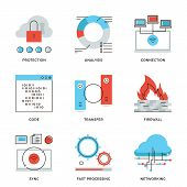 stock photo of internet icon  - Thin line icons of cloud computing network connection big data transfer firewall protection wireless communication - JPG