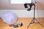 image of modifier  - Photo studio equipment with studio flash and light modifiers - JPG