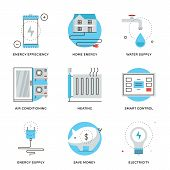 stock photo of air conditioner  - Thin line icons of internet of smart house technology system wireless home control panel energy savings and efficiency - JPG