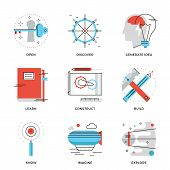 picture of thinking  - Thin line icons of conceptual vision thinking out the box innovation develop business invention discovery new things - JPG