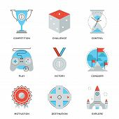 stock photo of line  - Thin line icons of competitive advantage solution business gamification strategy leadership move winning strategy ideas - JPG