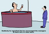 foto of hot-tub  - Cartoon of business manager in hot tub - JPG