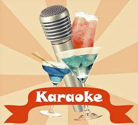foto of karaoke  - Silver microphone and cocktails on color retro background - JPG