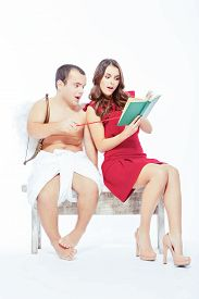 image of cupid  - Lovely valentines couple - JPG