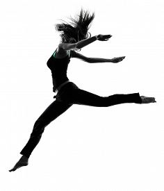 stock photo of  dancer  - one woman dancer dancing in studio silhouette isolated on white background - JPG