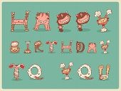 stock photo of freaky  - Happy birthday card postcard freaky funny cute vector - JPG
