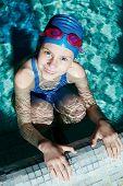 stock photo of swimming  - Swimmer preparing to swim on his back - JPG