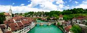 image of old bridge  - Panorama view of historical old town city and river on bridge in Bern Switzerland - JPG