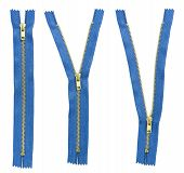 image of zipper  - Set of three blue zipper isolated on white background - JPG