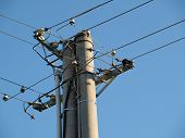 stock photo of utility pole  - pole power lines - JPG