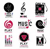 foto of music symbol  - Set of retro Collection of music logos and emblems.