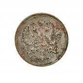 foto of copper coins  - Old coin isolated on the white background - JPG