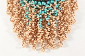 pic of beads  - Pulldown beads strung on twine brown and blue handmade - JPG