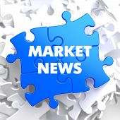 image of triage  - Market News on Blue Puzzle on White Background - JPG