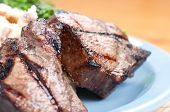 stock photo of lamb chops  - grilled lamb chops with creamy mashed potatoes - JPG