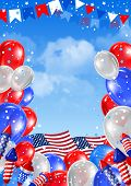 stock photo of balloon  - Independence day of United States of America   - JPG