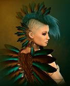 pic of mohawk  - 3d computer graphics of a young woman with feather jewelry and a Mohawk hairstyle - JPG