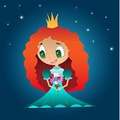 picture of princess crown  - Red Princess dress with a crown and bouquet of flowers on a background of stars - JPG