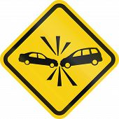 foto of warning-signs  - Colombian road warning sign - JPG