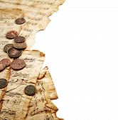 foto of copper coins  - Old coins with music notes isolated on white background - JPG