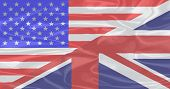 foto of union  - A union of the Stars and Stripes and the Union Jack on silk - JPG