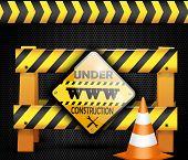 stock photo of safety barrier  - Illustration of under construction barrier over black background - JPG
