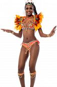 image of samba  - Cheerful samba dancer posing over white background - JPG