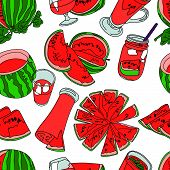Постер, плакат: Watermelon Vector seamless illustration