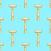 stock photo of razor  - Sketch vintage razor in vintage style vector seamless pattern - JPG