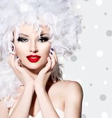 picture of feathers  - Beauty Fashion Model Girl with White Feathers Hair style and bright make up - JPG