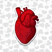 picture of heart surgery  - Drawing the human heart on background pattern of cartoon hearts - JPG