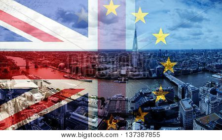 United Kingdom and European union flags combined for Brexit - London cityscape in the background