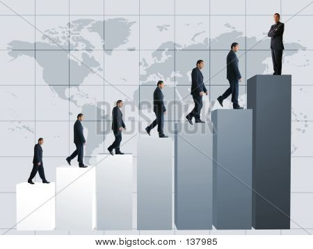 Picture or Photo of Business men climbing a graph with one confident business man on top