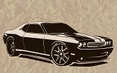 Постер, плакат: Muscle Car Abstract Sketch Old School 2