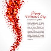 stock photo of valentines day card  - Red hearts confetti fly Valentine - JPG
