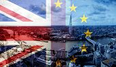United Kingdom and European union flags combined for Brexit - London cityscape in the background poster
