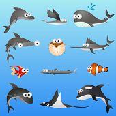 Постер, плакат: набор символов мультфильм рыбы